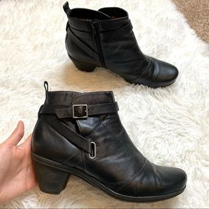 Abeo Rina Black Leather Heeled Booties Size 10 N